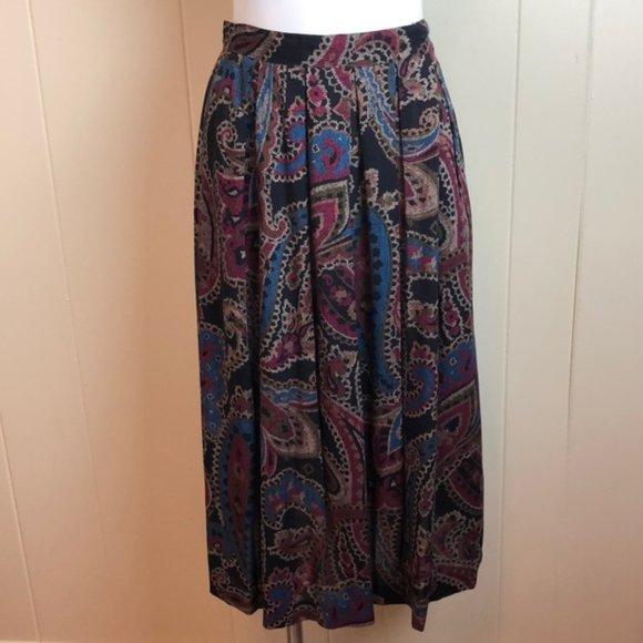 Vintage 80s/90s Multicolor Paisley Pleated Skirt